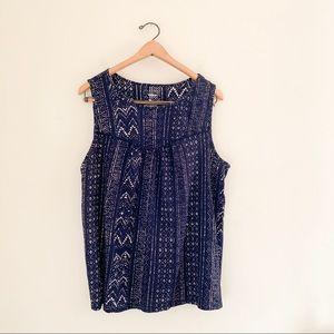 Sonoma Casual Navy Print Sleeveless Shirt - XL